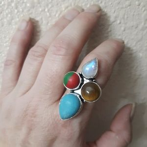 Rainbow Moonstone and Calsilica Silver Ring. 8.50